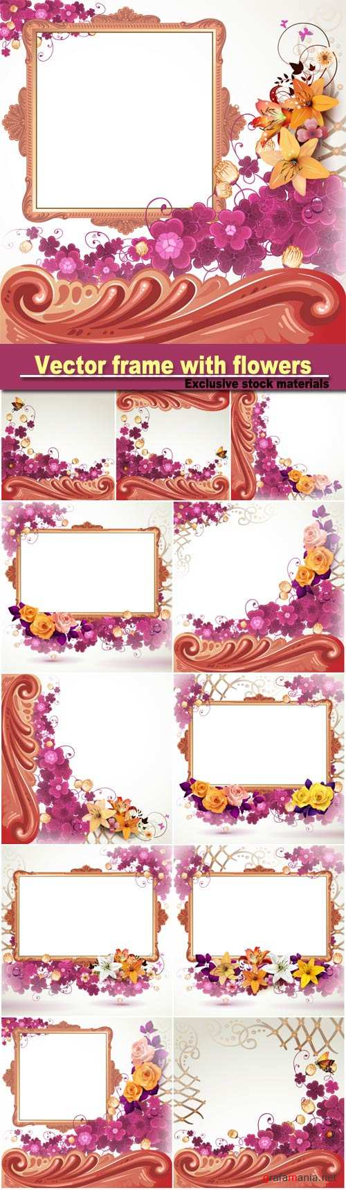Vector frame with flowers, roses and lilies