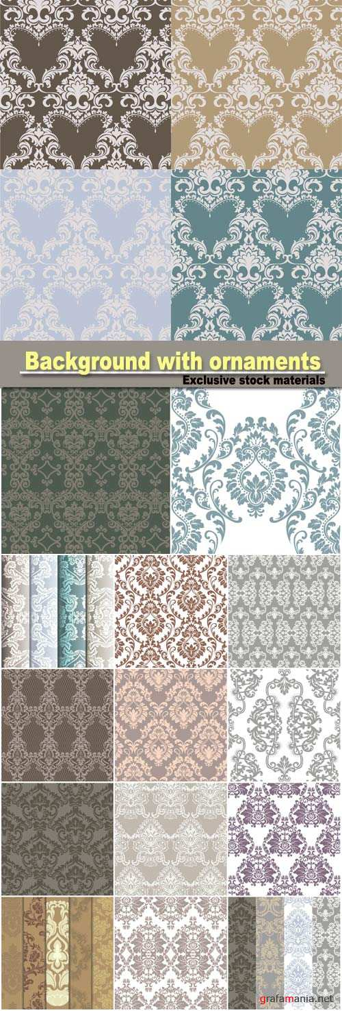 Background with ornaments, vintage seamless texture