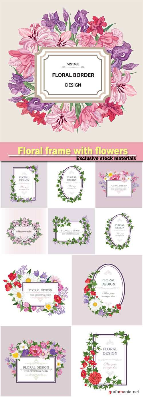 Floral frame with summer flowers, vintage greeting card with flowers