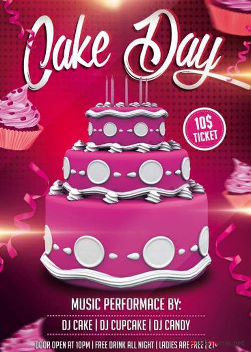 Cake Day party PSD Flyer Template with Facebook Cover
