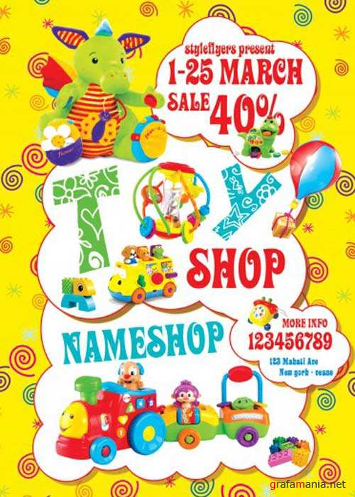 Toy Shop PSD Flyer Template with Facebook Cover
