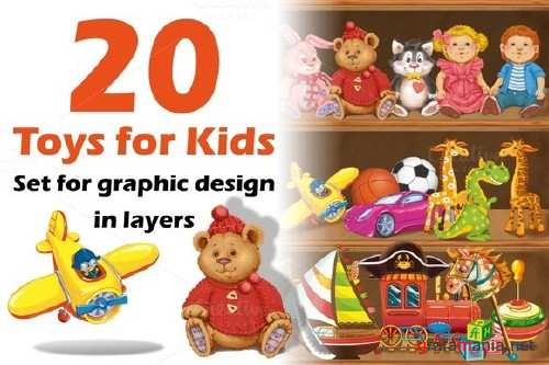 Wooden shelf with children's toys - 607660
