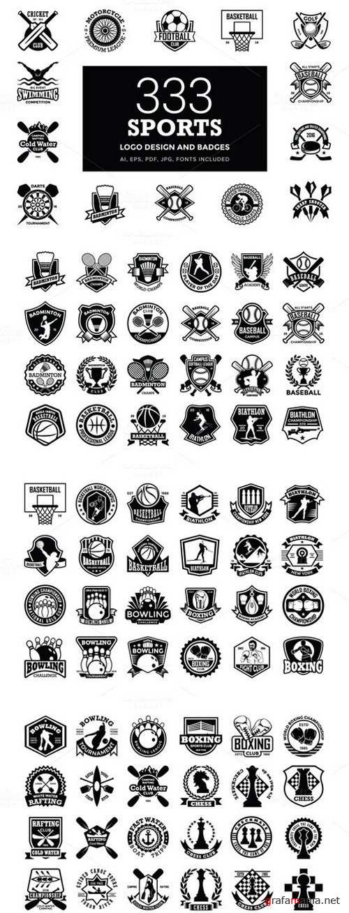 333 Sports Logo Designs and Badges - 672400