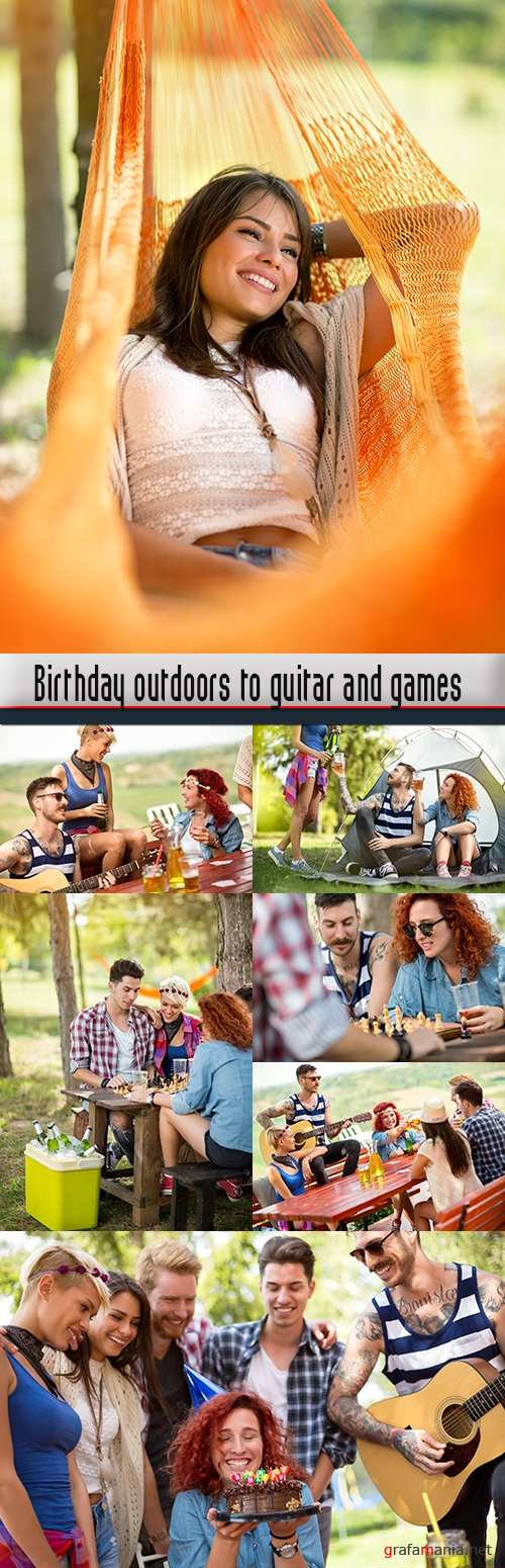 Birthday outdoors to guitar and games