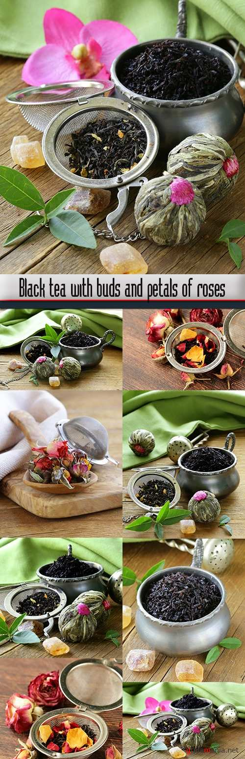Black tea with buds and petals of roses