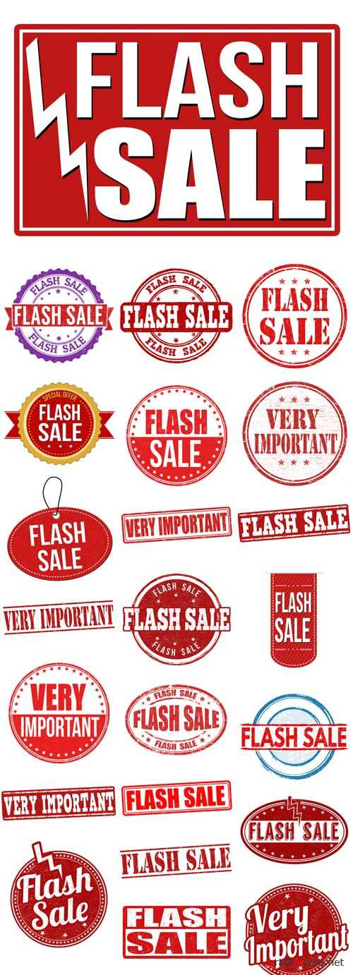 Vector Flash sale Red Sign and Very Important Stamps