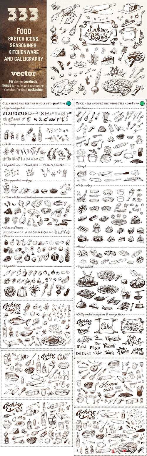 Hand-drawn cooking and food icons - Creativemarket 682355