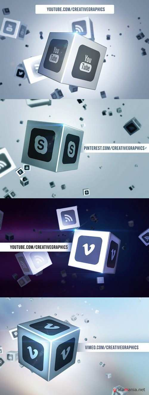 Social Media Logo on Cubes PS Mockup - 671239