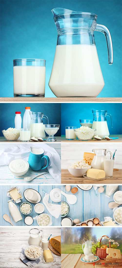 Dairy products on wooden table - Stock Image