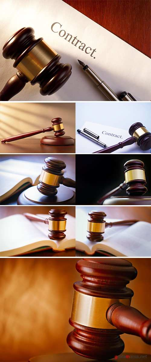 Gavel close up, Conceptual image of law and justice - Stock Image