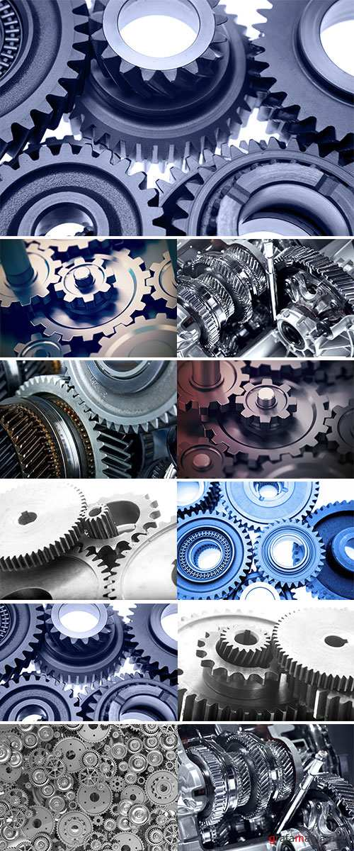Gear or cogwheel working together, movement transmission - Stock Image