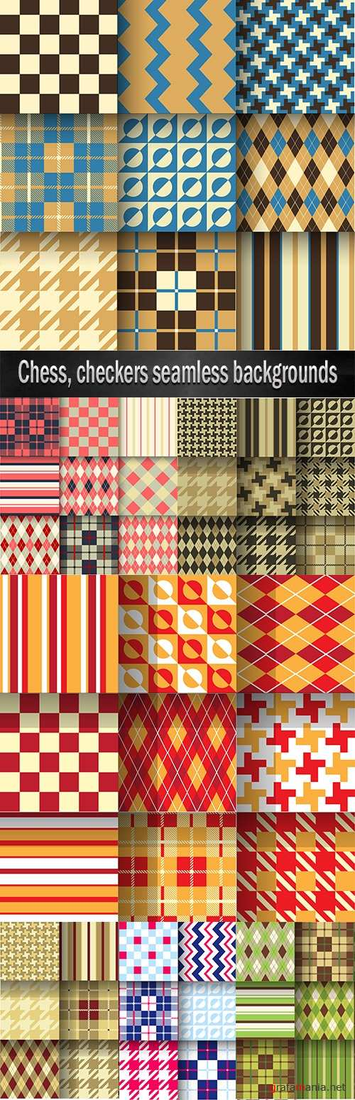 Chess, checkers seamless backgrounds