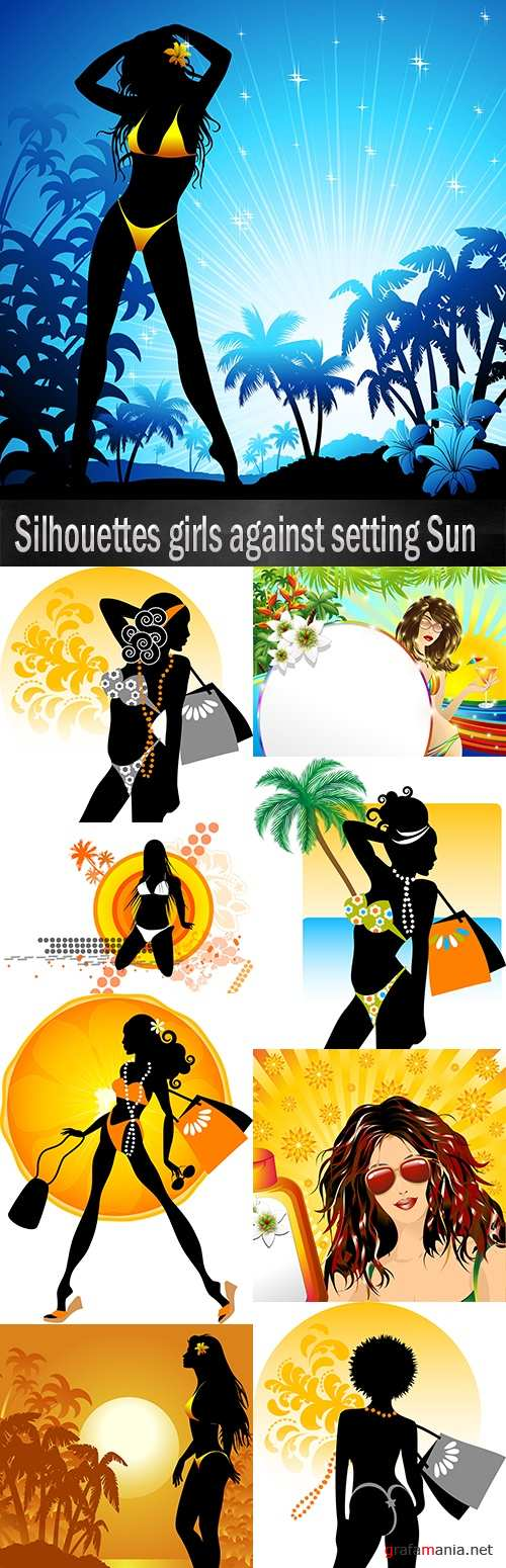 Silhouettes girls against setting Sun