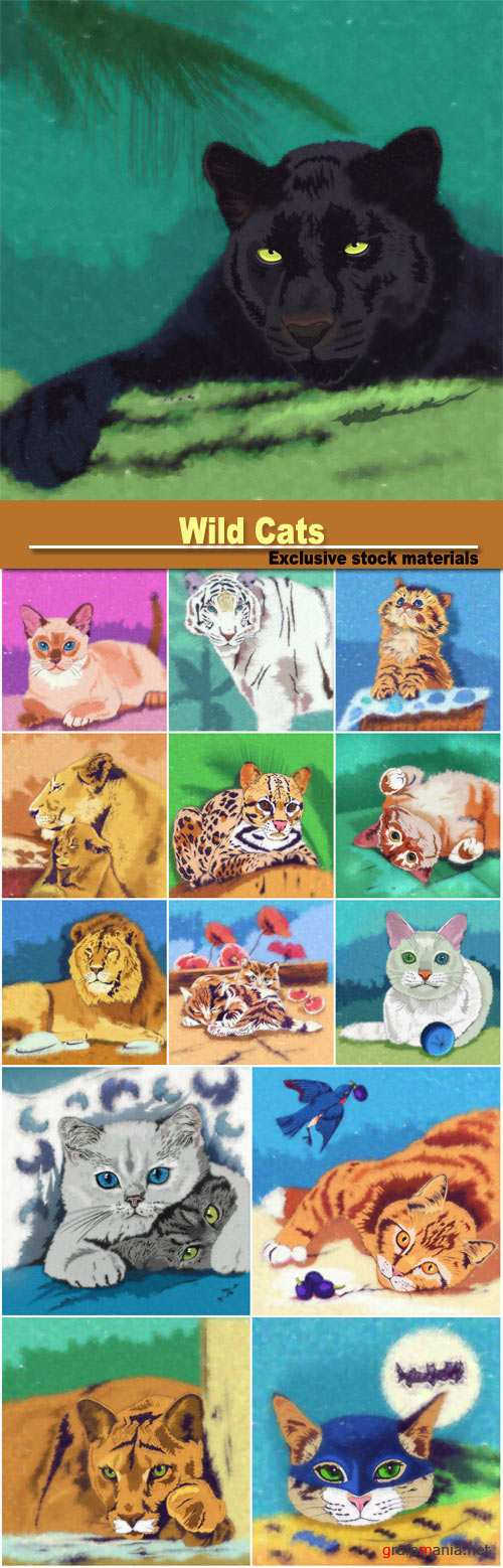 Wild Cats, lion, panther, cats
