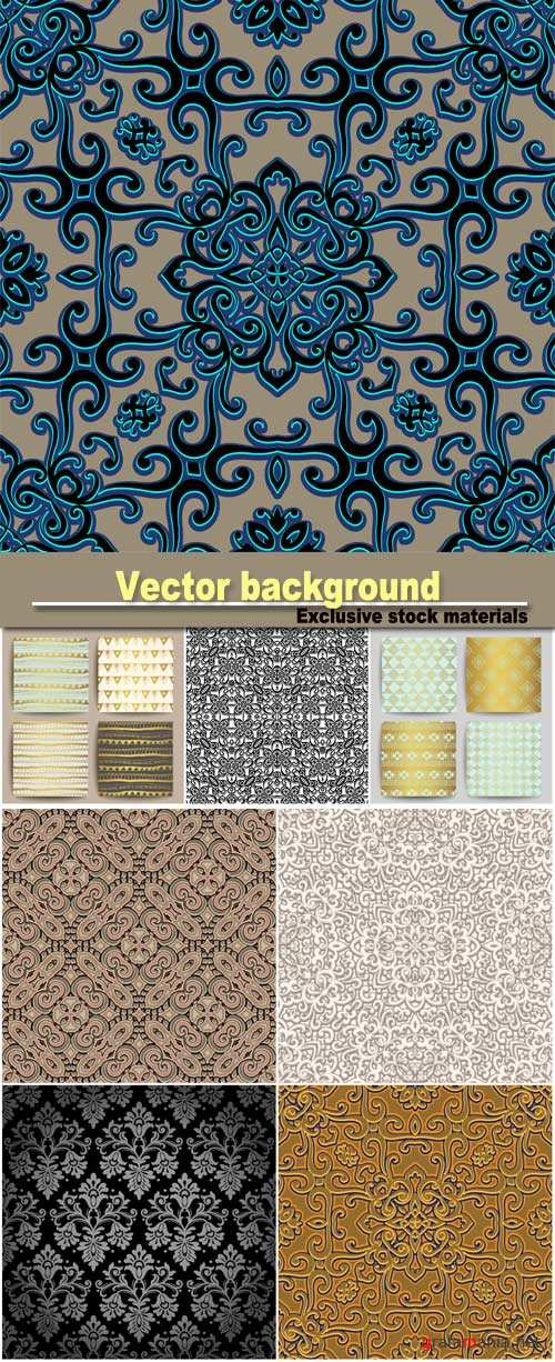 Vector background with patterns, patterns in 3D