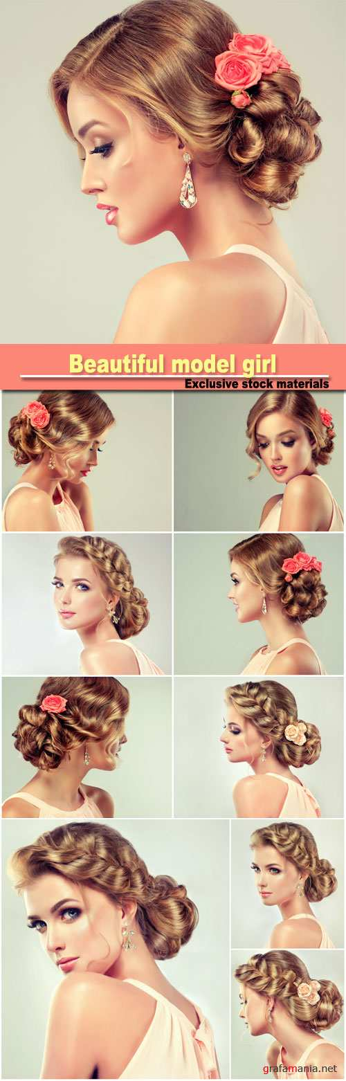 Beautiful model girl with elegant hairstyle