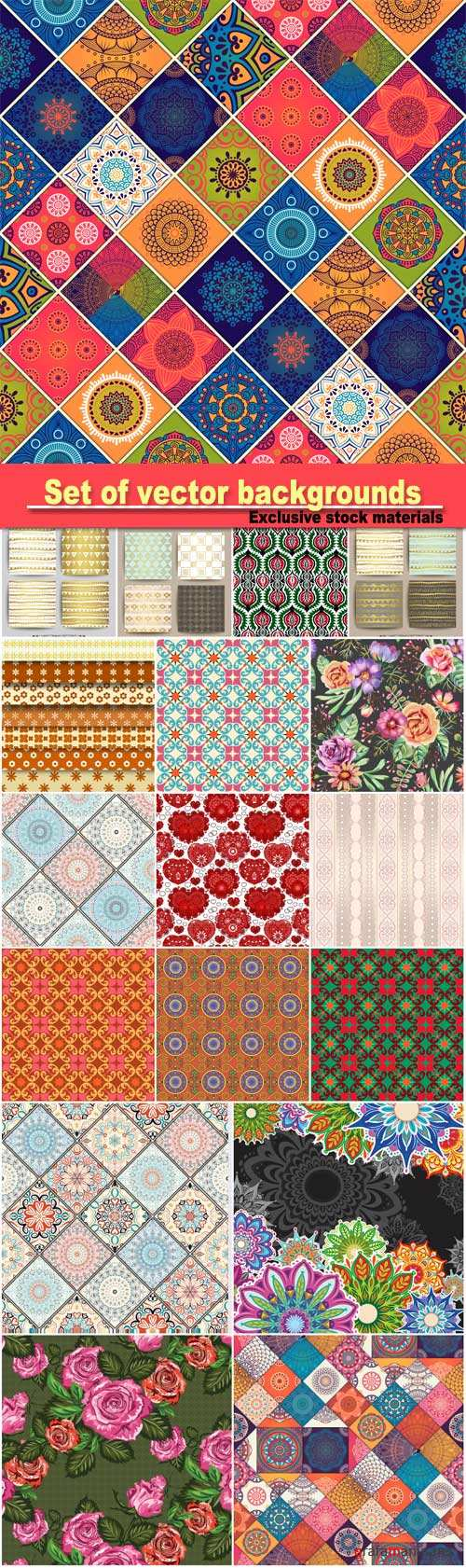 Set of vector backgrounds with various patterns and ornaments