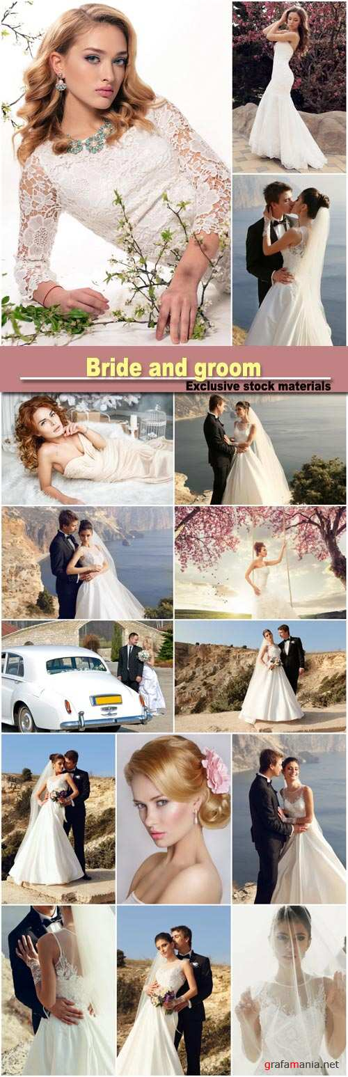 Bride and groom, wedding collages