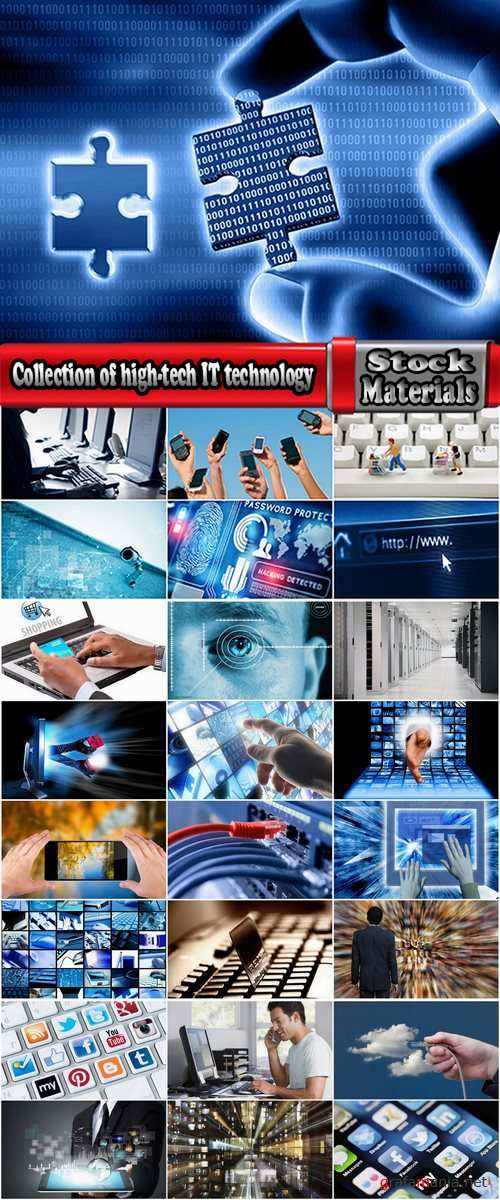 Collection of high-tech IT technology computer tablet phone communication network 25 HQ Jpeg