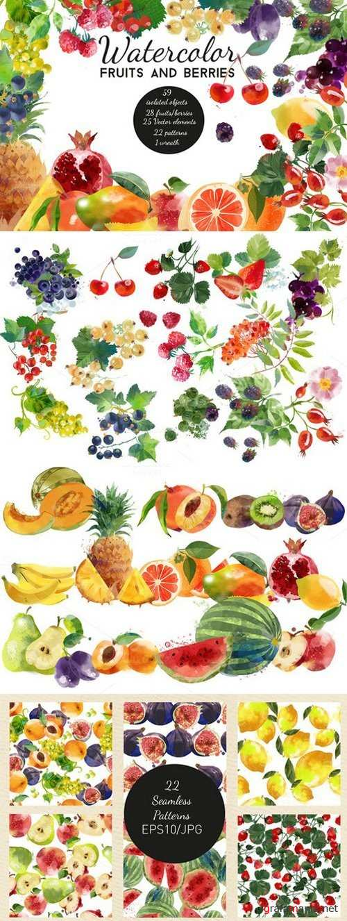 Watercolor fruits and berries - 693297
