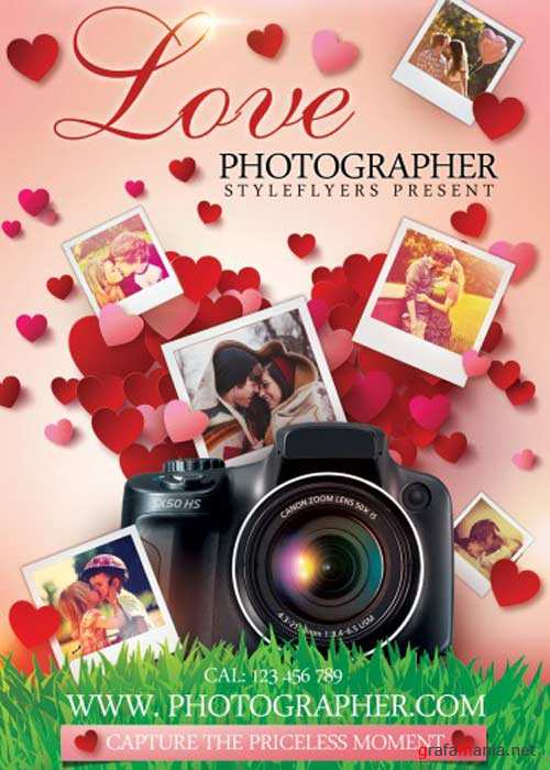 Love Photographer PSD Flyer Template with Facebook Cover