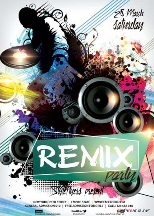 Remix Party V5 PSD Flyer Template with Facebook Cover