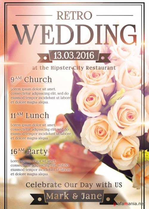 Wedding Day V6 Party PSD Flyer Template with Facebook Cover