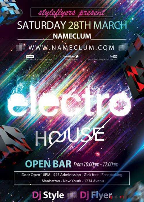 Electro House V8 PSD Flyer Template with Facebook Cover