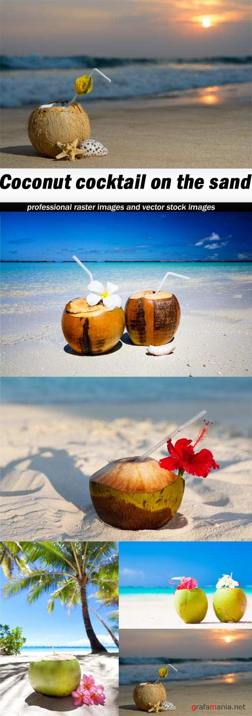 Coconut cocktail on the sand-5xJPEGs