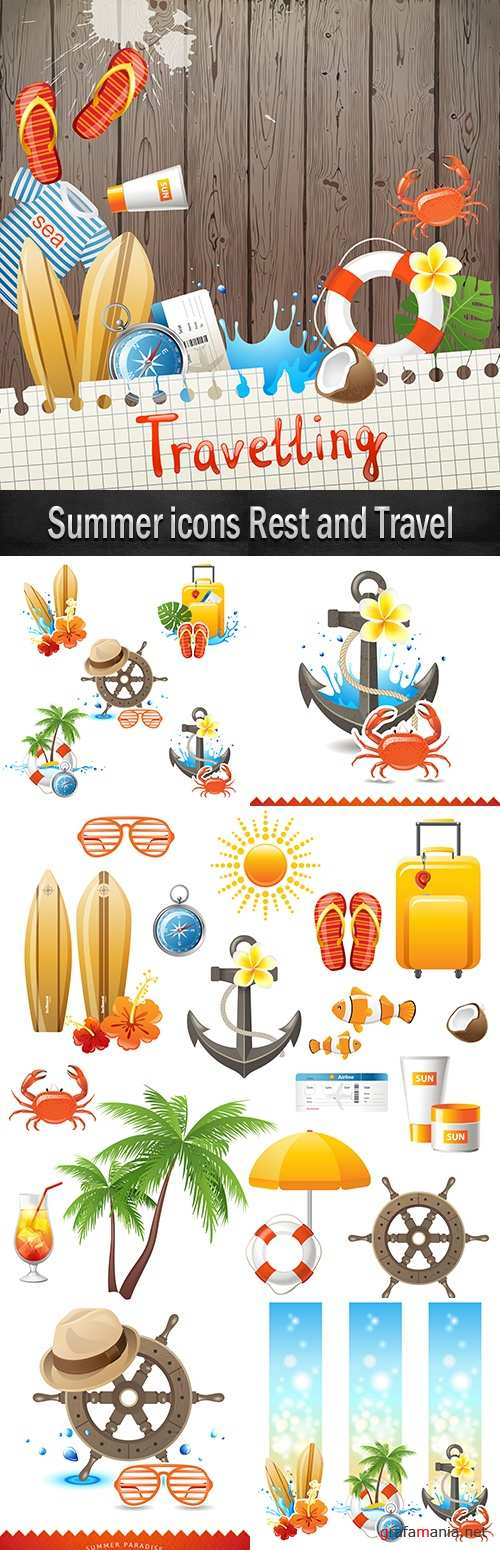 Summer icons Rest and Travel
