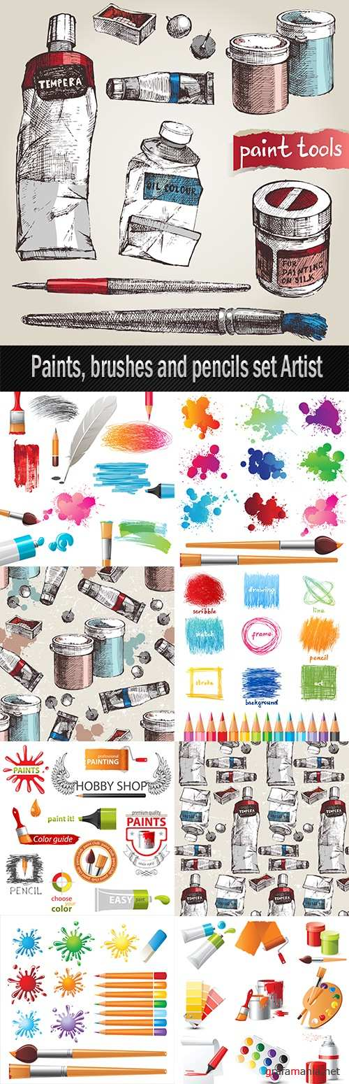 Paints, brushes and pencils set Artist