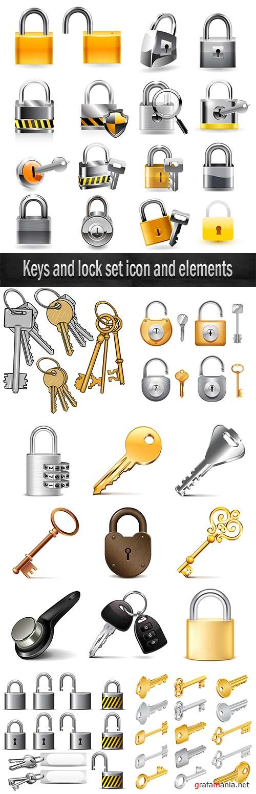 Keys and lock set icon and elements