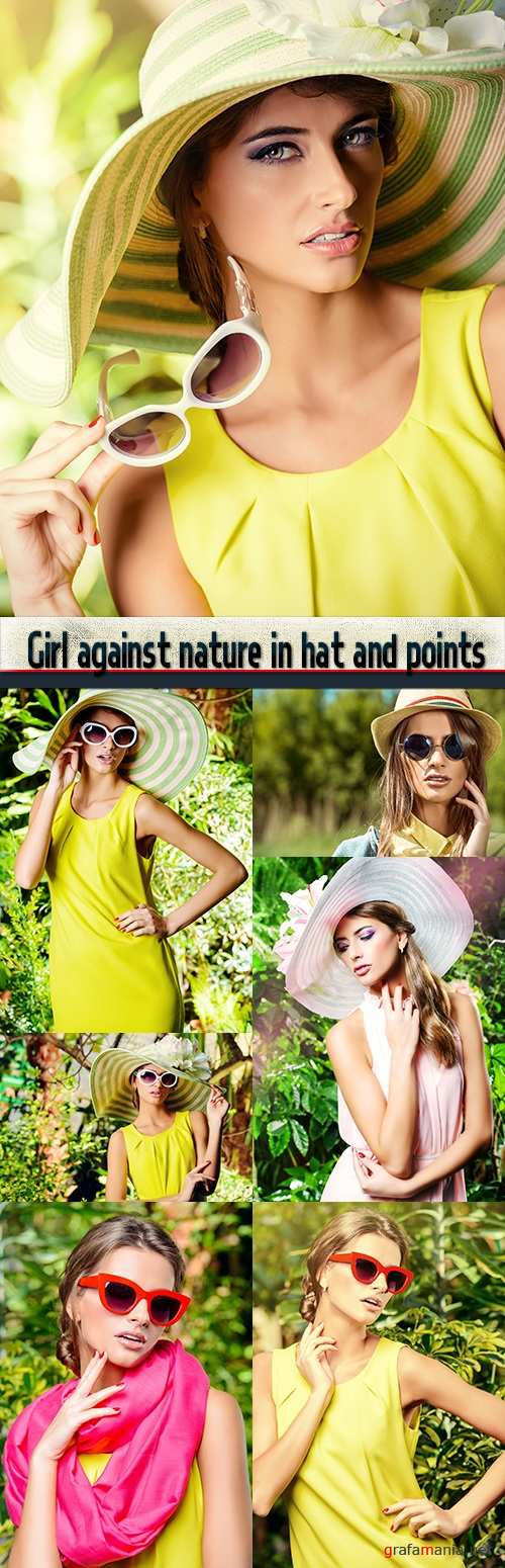 Girl against nature in hat and points