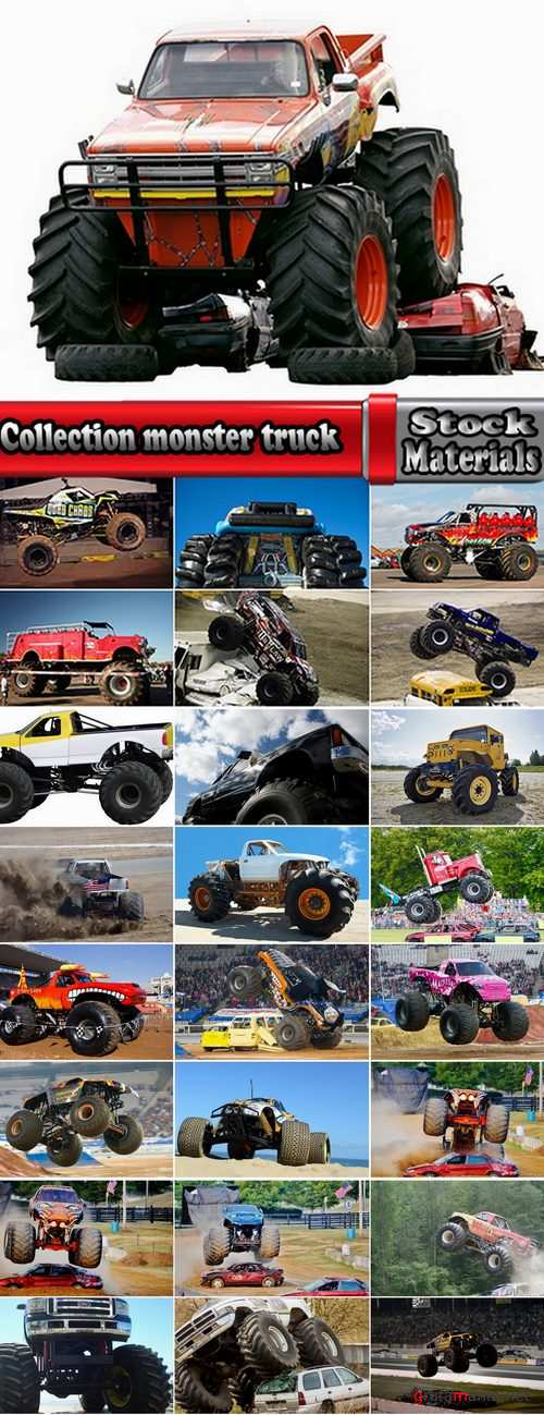 Collection monster truck lorry car on big wheels bigfoot 25 HQ Jpeg