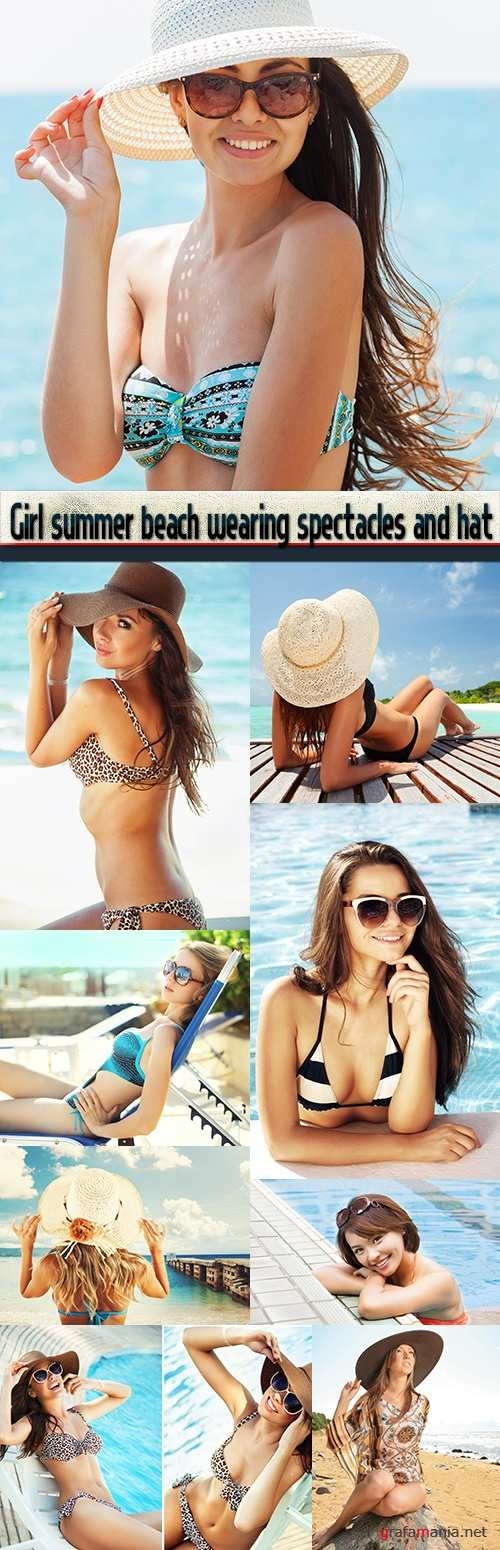 Girl summer beach wearing spectacles and hat