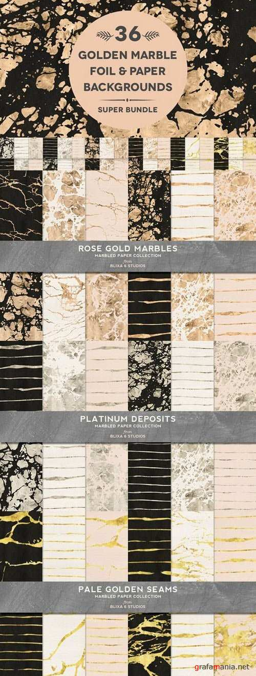 36 Golden Marble Foil & Papers - 691899