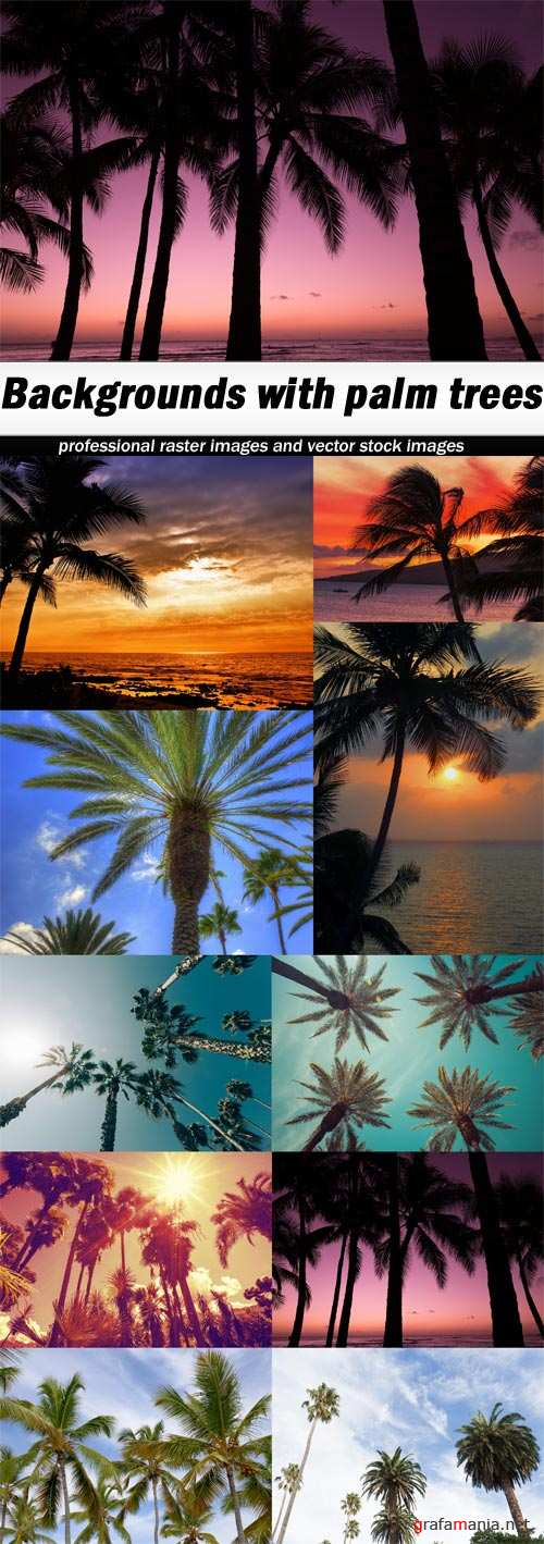 Backgrounds with palm trees-10xJPEGs