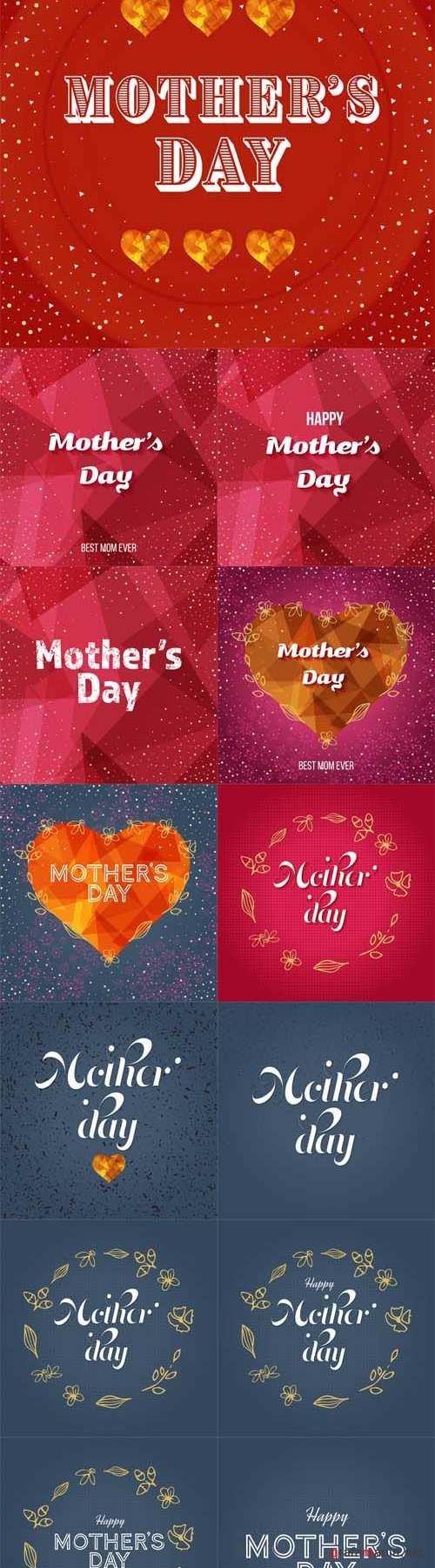 Vector 13 Happy Mothers Day Greeting Cards
