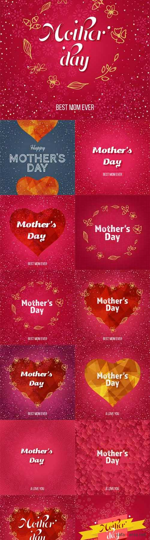 Vector 13 Happy Mothers Day Greeting Cards 2