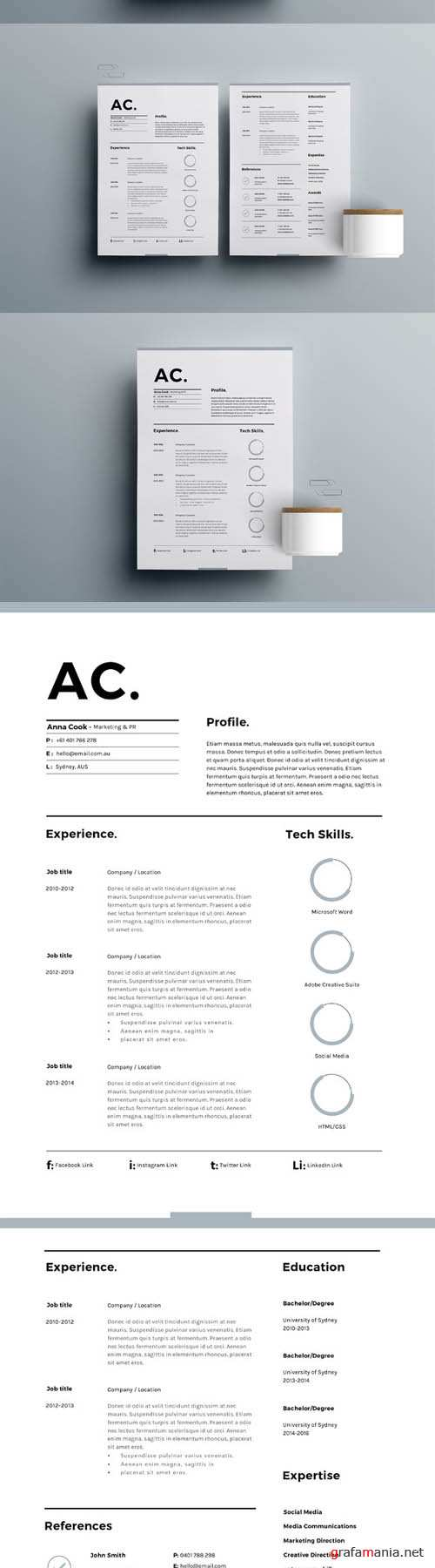 Resume Template 3 Page Cv Template 636078