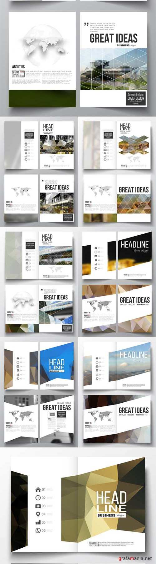 Vector Business Templates for Brochure Magazine, Booklet 3
