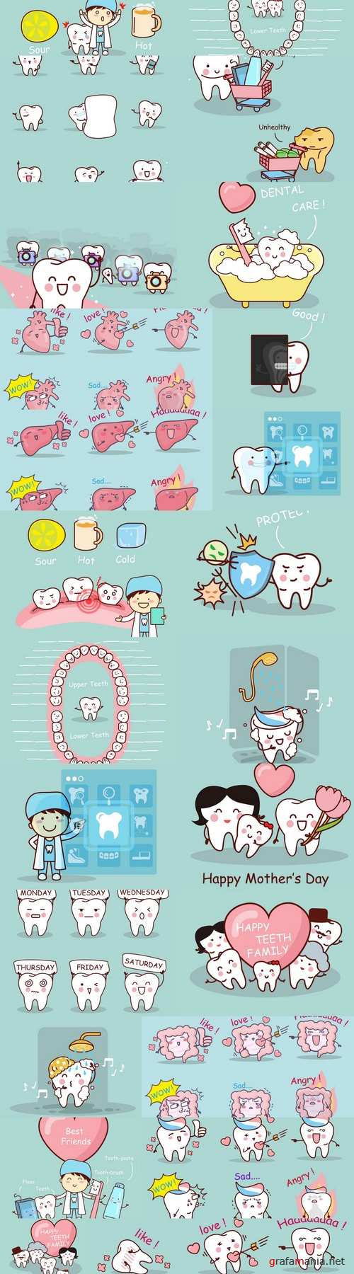 Cartoon tooth with tooth fairy 2
