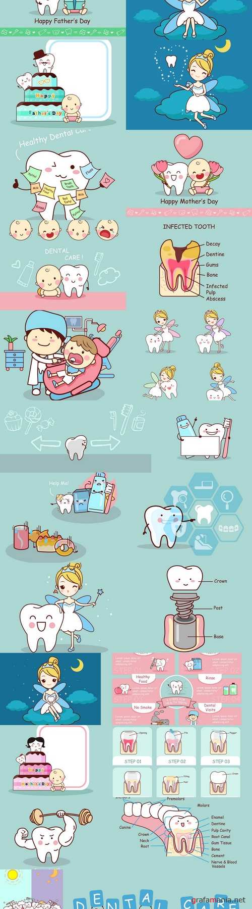 Cartoon tooth with tooth fairy 3