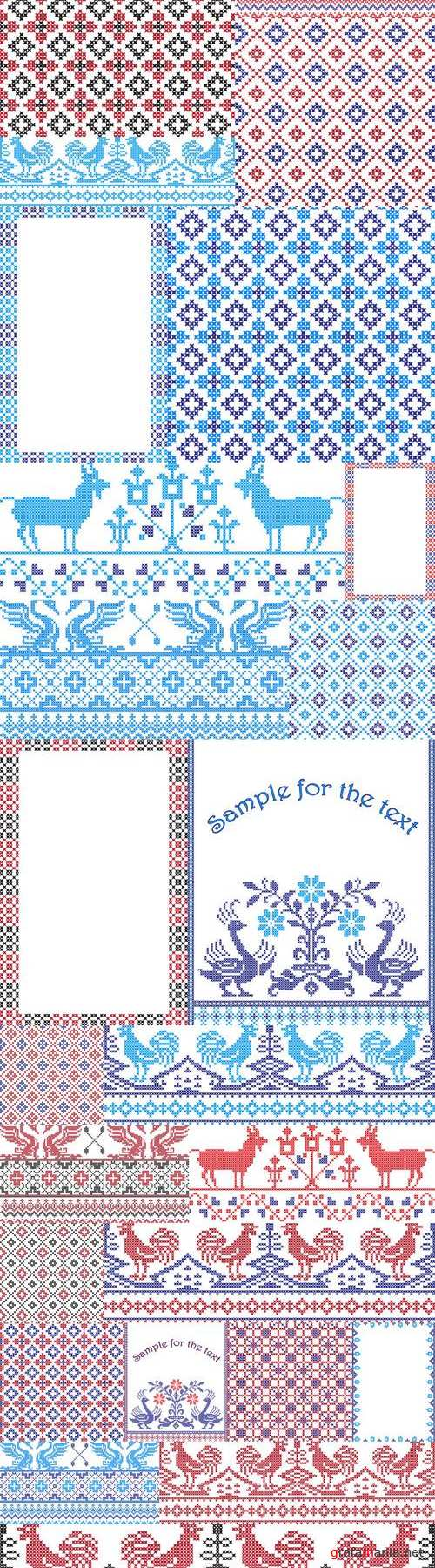 Embroidered pattern on transparent background 6