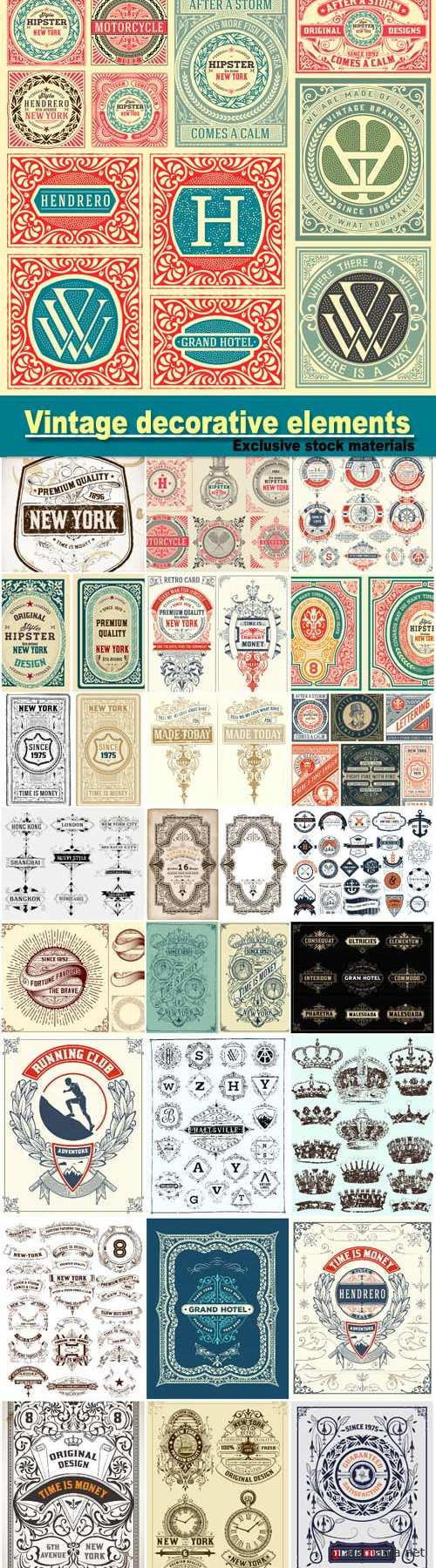 Vintage decorative elements in the vector, frame, labels, ornaments