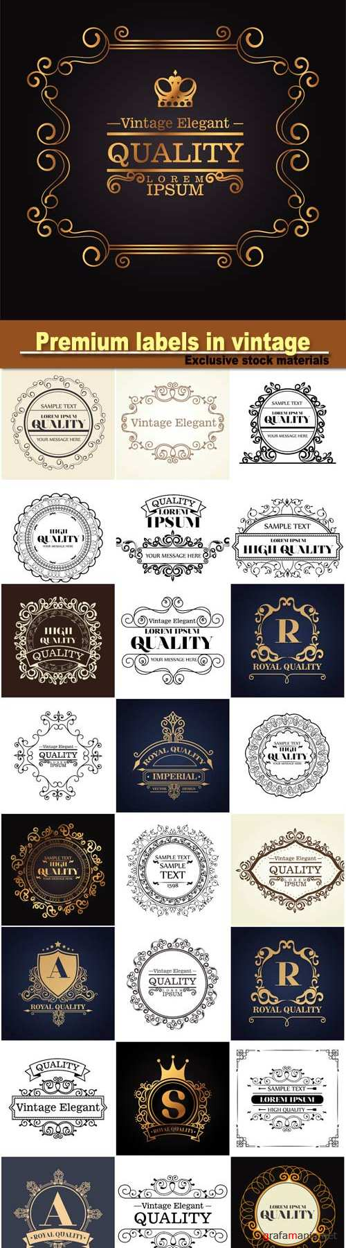 Premium labels in vintage style
