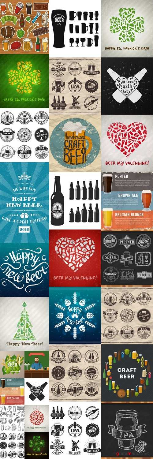 Set of vector craft beer logos and badges