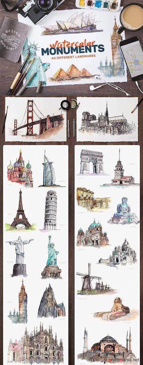 Watercolor Monument Paintings - 706809