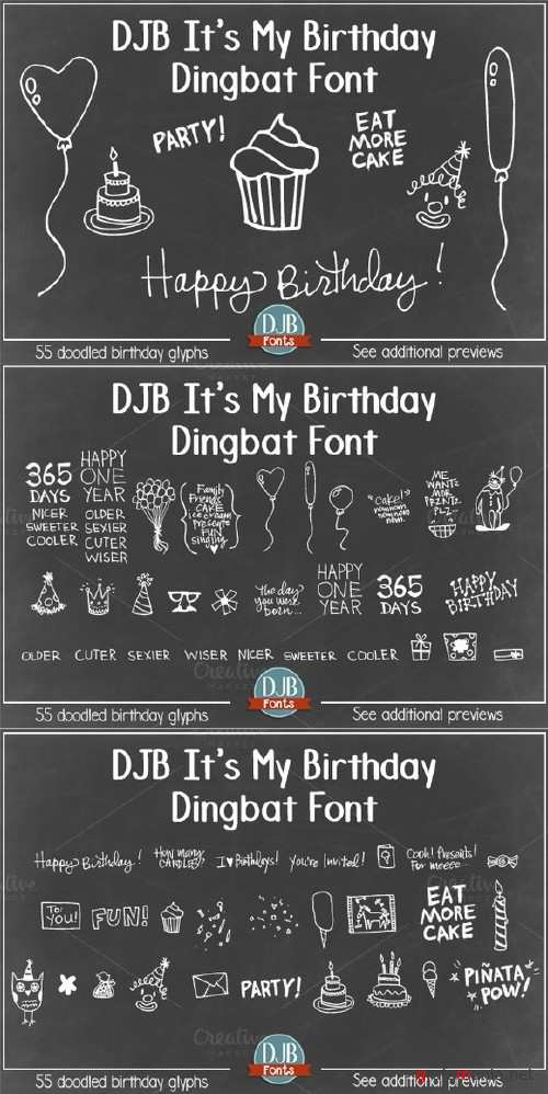 DJB It's My Birthday Dingbat Font - 685825