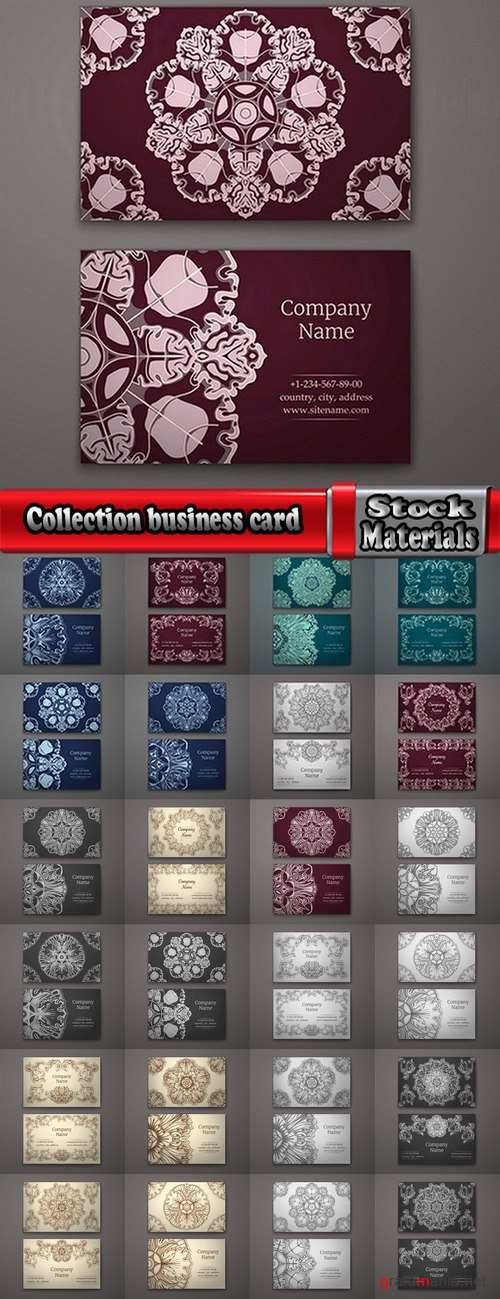 Collection business card with printed cover ethnic pattern 25 EPS